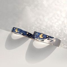Van Gogh starry night couples rings. sterling silver