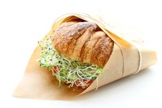 Croissant Sandwich: Fresh Croissants Cucumber, Tomato, Avocado, Alfalfa Sprouts, Basil Pesto, Mascarpone Cheese