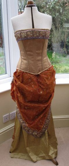 Steampunk Gold Color Beaded Corset and Bustle Skirt made from a Sari..on etsy