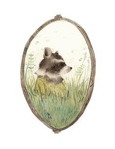 "Raccoon art, ""Loretta"" archival art print, nature, nursery decor, woodland, raccoon watercolor, gold, green. $20.00, via Etsy."