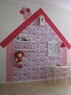 Such a pretty and clever way to decorate a playroom wall.of course all I'd need is another room in my house. Princess Room, Little Girl Rooms, Kid Spaces, Kids Decor, Play Houses, Girls Bedroom, Kids Playing, Room Inspiration, Baby Room
