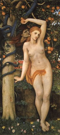 Eve beauty - ideal woman on outside - but corrupted by evil (represented by snake) - show both  (Eve with the serpent by the Tree of Knowledge. Painting by John Roddam Spencer-Stanhope 1829-1908)