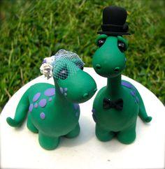 Dino Love Custom Keepsake Wedding Cake Topper by theaircastle, $170.00