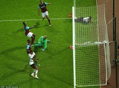 Anthony Martial somehow scored from this tight angle as the Manchester United striker put his side 2-1 up against West Ham