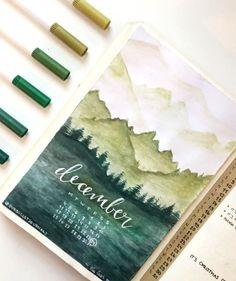 Bullet journal monthly cover spread by ig@ourbulletjournals. Absolutely gorgeous artwork!