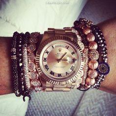 Big watch and bracelets fashion girly jewelry bracelets glitter gold