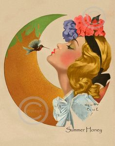 Beautiful Whimsical Girl with Flowers in Hair Humming Bird is Giving her a Kiss Summer Honey 1940 Henry Clive Giclee Fine Art Print Vintage Illustration Art, Illustrations, Poster Vintage, Vintage Art, Vintage Beauty, Pinup, Bird Sketch, Exotic Art, Girls With Flowers