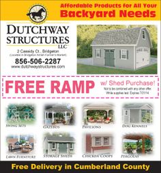 Are in the market for a shed? Look no further Dutchway Structures has just what your looking for and now get OFF any in-stock shed! Lawn Furniture, Our Town, Shed Storage, Coops, Farmers Market, Pavilion, Gazebo, Backyard, Swing Sets