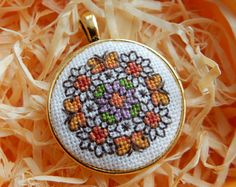 Crossstitch pendant Flowers handmade necklace by Microstitch