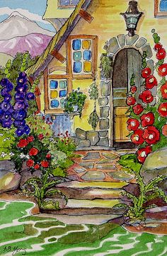 Alida Akers' Storybook Cottage Series - A Gardener's Cottage (Between the mountains and the river sits a gardener's cottage. Each square foot of the postage size yard boasts some growing thing.and if you can find him some hopping thing. Storybook Cottage, Cottage Art, Garden Cottage, Art And Illustration, Vintage Illustrations, Belle Image Nature, Arte Popular, Painting & Drawing, Watercolor Art