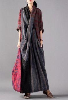 9ed57e29747 Johnature Vintage Plaid Patchwork Long Loose Dresses Full Sleeve V-Neck  Pockets New 2018 Autumn Cotton Linen Women Dresses