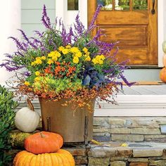 Enjoy nonstop color all season long with these container gardening ideas and plant suggestions. You'll find beautiful pots to adorn porches and patios.