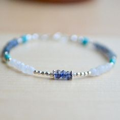 Delicate Multi Gemstone Bracelet with Moonstone by AlaskaDaisy