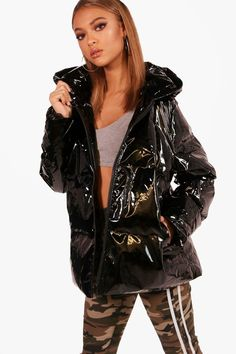 3965bc8a2f7 Click here to find out about the Lola Oil Slick Padded Jacket from Boohoo