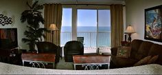 The bar, Living Room & Gulf Of Mexico  as seen from the kitchen & dinning