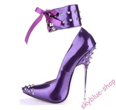 2ee7ab4fc006fc Womens Patent Leather Pointy Toe Rivet Strappy Clubwear Super High Heels  Shoes