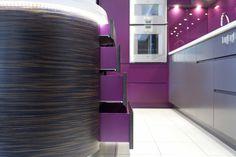 Kitchen island drawers, magenta purple, dark brown and white - Increation's Old St Victorian Mill