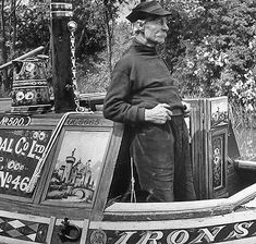 A black and white photo of a man standing on a coal carrying canal boat 'Ironside' Barge Boat, Canal Barge, Canal Boat, Gypsy Living, Narrowboat, Popular Art, Old Pictures, The Guardian, Vintage Photos