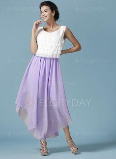 Dresses - $60.00 - Chiffon Color Block Sleeveless High Low Casual Dresses (01955090780)