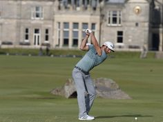 Dustin Johnson tees off on the 18th hole on the second round during third day of the Open. He led the majority of the Open