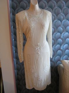 Disco era designer Lillie Rubin creamy silk beaded short cocktail dress size M