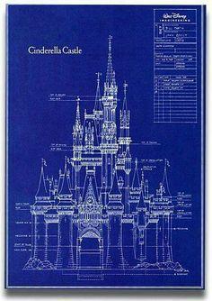 Um esquema arquitetônico do castelo da Cinderela na Disney World em Orlando, Flórida