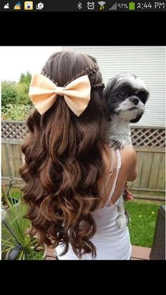 Beautiful hair Hairstyle With Bow, Hair With Bow, Hair Styles With Curls, Cute Hairstyles With Curls, Kids Hair Styles, Hair Bow Hairstyles, Cute Hairstyles For Kids, Braids And Curls, Easy Girl Hairstyles