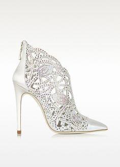 Loriblu White Satin Jewel Bootie on shopstyle.com