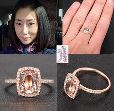 Oval Morganite Engagement Ring Pave Diamond Wedding 14K Rose Gold 7x9mm Cushion Halo - Lord of Gem Rings - 1