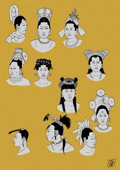 Maya women hairstyles and headwear in the Classic period (c.600-900). Based on primary sources: vase paintings, murals, ceramics, figurines, bone carvings, stelae etc.