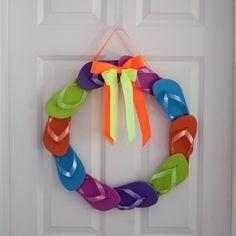 Fun & Colorful Summer Flip Flop Wreath by SplendidSmash on Etsy, $35.00