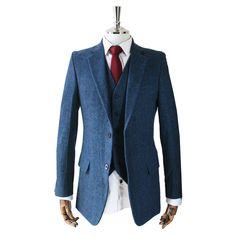 Blue herringbone tweed three piece suit.