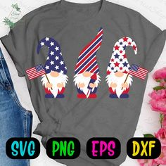Patriotic Gnomes SVG Of July Svg Independence Day Svg American Flag Svg Love Usa Svg Silhouette Cut Files Stars And Stripes Merica Cut # IndependenceDaySvg Americana Crafts, Svg Files For Cricut, Cricut Fonts, July Crafts, Print And Cut, Silhouette Studio, Independence Day, Gnomes, My Images
