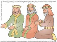 Nativity craft for children - three kings / wisemen giving gifts to baby Jesus. The gifts are made into stickers that are placed in the wisemen's hands.