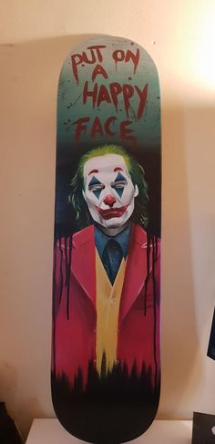In light of the OUSTANDING new Joaquin Phoenix Joker movie, i made a thing. Hand painted by yours truly in acrylic on wood. Painted Skateboard, Skateboard Deck Art, Skateboard Design, Custom Skateboards, Cool Skateboards, Art Surf, Beginner Skateboard, Skate Photos, Longboard Design