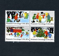 Christmas postage stamps from United States  4 unused by workbox