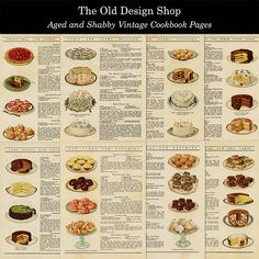 Vintage Aged and Shabby 8 Cookbook Pages Baking Illustrations and Recipes Kitchen Graphics Digital D Old Recipes, Vintage Recipes, Dinner Recipes, Cooking Recipes, Vintage Food, Retro Recipes, Wrap Recipes, Shabby Vintage, Vintage Stuff
