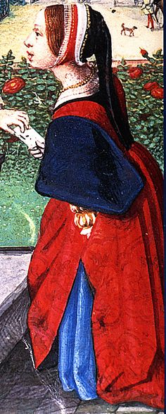 This is more of a side view, but compliments back views.Two Views of a Lady (Color) Bathsheba Simon Bening mid Elizabethan Clothing, Elizabethan Costume, Medieval Clothing, Tudor Fashion, Renaissance Fashion, Renaissance Art, Historical Art, Historical Costume, Historical Clothing