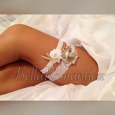 White and Gold Garter  Bridal Garter  Wedding by BellaRomantica
