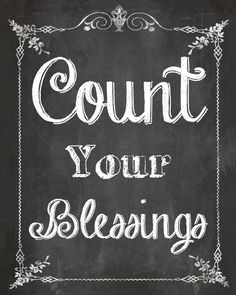 Count Your Blessings Chalkboard Home Decor by SassyGraphicsNow