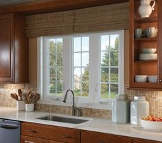Get some kitchen window design ideas with the help of The Architecture Designs. Visit our website for more ideas. Kitchen Garden Window, Window Seat Kitchen, Kitchen Window Treatments, Kitchen Decor, Kitchen Windows, Kitchen Sink, Kitchen Ideas, Kitchen Cabinets, Beautiful Kitchens