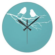 Two Little Sparrow Birds Dulux Blue Diamond 5 Large Clock