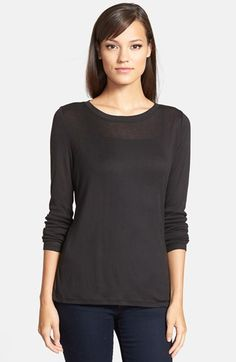 Trouvé Layering Tee at Nordstrom.com. A stretchy modal blend lends definition to a semi-sheer long-sleeve tee that is ideal for cold-weather layering or standalone casual wear when the sun comes out.