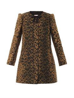 Leopard-jacquard A-line coat | REDValentino | MATCHESFASHION.COM