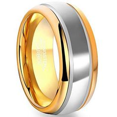 8mm Tungsten Rings 18k Gold Plated Edge Inner Circle Band
