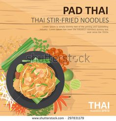 vector illustration design of Thai food,Pad Thai  ,Thai style stir-fried noodles , with ingredients, top view