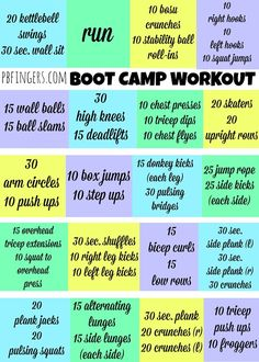60 Minute Boot Camp Workout - do each square for 3 minutes, then move onto next square