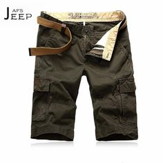 >> Click to Buy << AFS JEEP Water washed Man's Knee Length Cargo Shorts,Ironing free Motorcycle Men's best choose half length cotton trousers 40 42 #Affiliate