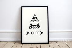 1 Affiche Poster Little Chef Picto Tipi Flèche et Texte en Noir sur fond Blanc…