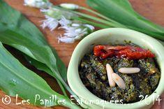 Pesto d'ail des ours aux tomates et amandes Seaweed Salad, Pesto, Gluten, Beef, Fruit, Ethnic Recipes, Milk, Food, Table